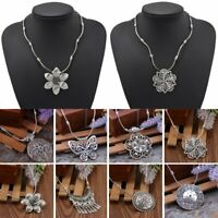 Vintage Silver Ethnic Hollow Flower Beads String Pendant Necklace Women Jewelry