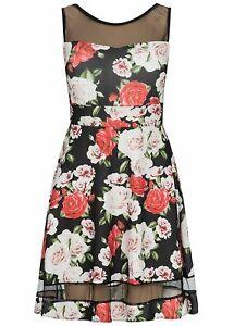 B18042532 Damen Hailys Kleid Passe oben Rosen Muster schwarz rot rosa
