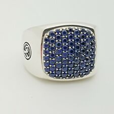 David Yurman mens sterling silver 1.62ct pave blue sapphire signet ring size 11