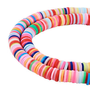"""17.7"""" Handmade Polymer Clay Heishi Beads Disc Loose Spacer Crafting Beads 3~8mm"""