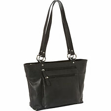NEW Black R & R Collections Double Handle Tote - Leather Bag for Career Women
