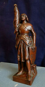 VINTAGE SAINT JOAN OF ARC STATUE FRENCH SPELTER COPPER PLATED 17,5 cm signed DSR