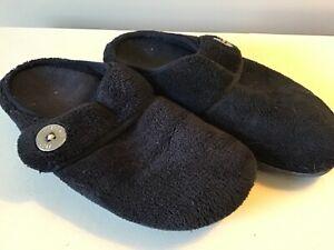 Vionic Orthotic Adjustable Strap Slippers size 9 Women's black non slip sole