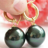 Huge AAA 16mm Black South Sea Shell Pearl Earring 14K Gold Real Party Aurora