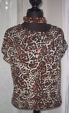 Forever 21 Women's Knit Blouse Shirt top Brown Black Animal Print Small New