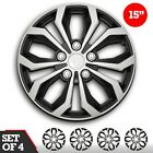 """Set of 4 Hubcaps 15"""" SWISS DRIVE Wheel Cover""""SPA""""SILVER & BLACK ABS Easy Install <br/> Check tire size and rim compatibility"""