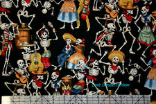 Alexander Henry Folklorico Fiesta de los muertos Black Fabric