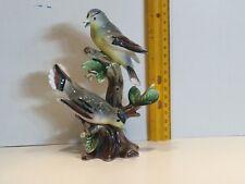 Vintage Ceramic Birds Flycatcher? Mockingbird? Japan Figurines