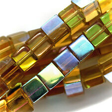 GLASS CUBE BEADS CITRINE YELLOW AB COLORS 6MM SQUARE STRANDS
