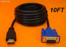 NEW 10 FT 3M LONG HDMI TO VGA MONITOR CABLE COMPUTER TO TV CORD 15-PIN US SELLER