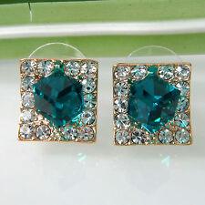 Navachi Square Blue Zircon 18K Yellow GP Crystal Ear Stud Earrings BH2351