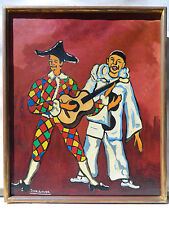 JEAN-ROGER 1924-2015 PIERROT et ARLEQUIN Tableau Peinture Huile EXPRESSIONNISTE