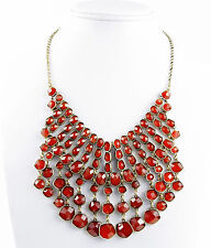 LUCKY BRAND Red Stone Cascade Frontal Bib Gold-Tone Necklace $75
