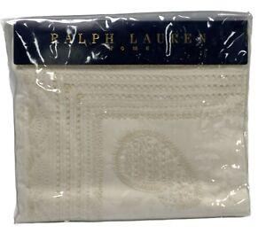 Ralph Lauren Cream QUEEN Flat Sheeting Alpine Lodge Wickward 8112 $395.00 NEW
