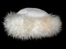 "Knit Beanie with 100% Fur Ivory Fur/Acrylic/Wool Hat Made in Italy 10-3/4"" Dia"