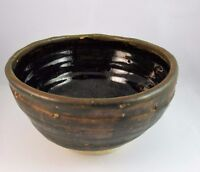 Rustic Hand Thrown Pottery Bowl Signed S Zimmer Green Tan Country Kitchen