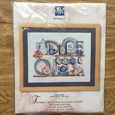 Vervaco 14 Count Cross Stitch Kit Blue Crockery Kitchen DMC Thread 24 x 18 cm