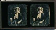 Original Hand Tinted Stereoview Daguerreotype of A Lady c1845