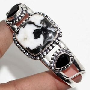 White Buffalo Turquoise Black Onyx 925 Sterling Silver Plated Bangle Gift GW