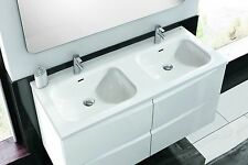 "Eviva Rome Luxury Modern Double Bathroom Vanity Porcelain Sink 48"" White"