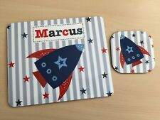 Marcus Boys Personalised Rocket Star Placemat and Coaster by Tilliemint VGC
