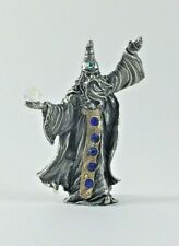 Pewter Wizard Holding Crystal Ball & Accented with Blue Crystals