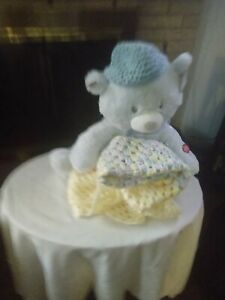 Baby blanket crochet new  colors yellow, pink and blue, size ,29 by 29 with bear