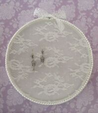 Embroidery Hoop Jewelry Earring Display Shabby Chic White Lace Amp Bead Trim 8