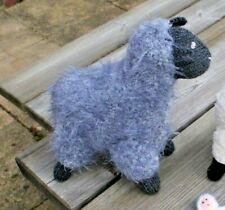 Hand Knitted Sheep Grey Handmade Sheep Doll Thick Furry Coat