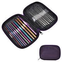 22PC Multi Colour Aluminum Crochet Hooks Kit Yarn Knitting Needles Set withPY