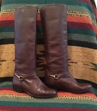 GUCCI Brown Leather Equestrian Gold Horse Bit Riding Boots 6M ITALY Very Rare!