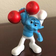 """Smurf Hefty Lifts Weights Figure 3.5"""" Tall"""