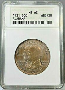 1921 50c Alabama Silver Commemorative Half Dollar ANACS MS62 ~ OLD HOLDER