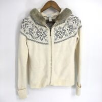 Loft Women's Ivory Zip Up Holiday Tops Sweatshirts Hoodies White Size XS