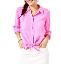 Lilly Pulitzer para mujer sea view Botones Camisa Lino Prosecco Rosa Tamaños - $98