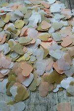 1300+ PEACH  WHITE GOLD HEARTS CONFETTI ROMANTIC WEDDING DECORATION/THROWING/ECO