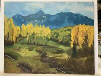 Original Oil Painting Landscape Signed Robbie Lundskog 30x24 Yellow Trees Mtns