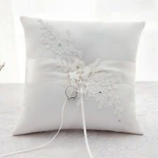 UK White/Ivory Ring Pillow Wedding Ring Bearer Cushion Lace Flower Pearls