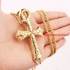 Heavy Men's Yellow Gold Plated Stainless Steel Cross Biker Pendant Box Necklace