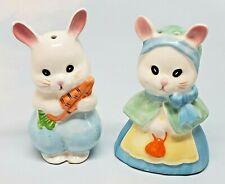 Josef Originals - Set of Lady Girl & Man Boy Bunny Rabbit Salt & Pepper Shakers