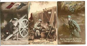 WW1,3 Propaganda postcards.The 3 write on back.Lot 2.
