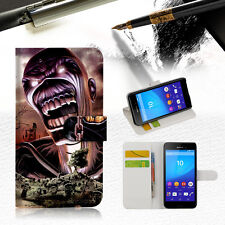 Iron Maiden Wallet TPU Case Cover For Sony Xperia XZ Premium -- A014