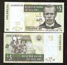 MALAWI 5 KWACHA P36 2004 BUNDLE BOAT FISH UNC X 100 PCS CURRENCY BANK NOTE