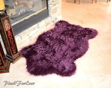Nursery Rug 4x6 Purple Lavender Plush Shaggy Flokati Carpet Throw Rug Sheepskins