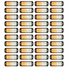 Flash Amber 12-LED Car Truck Emergency Beacon Warning Hazard Strobe Light Barsx4