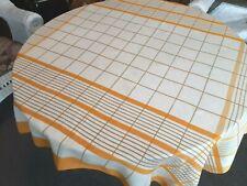 "Vintage White Cotton TABLECLOTH w/Orange & Blue Stripes 64"" x 52"" Rectangle"
