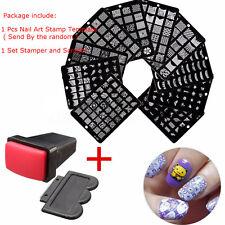 Kit Uñas Sello Placa Metal Estampado Nail Art Stamper Stamping Decoración Plate