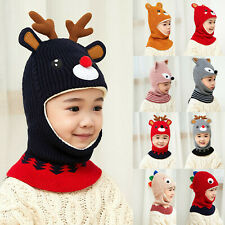 Toddler Kids Baby Boy Girl Hooded scarf Caps Hat Winter Warm Knit Flap Scarf