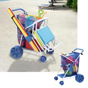 Deluxe Outdoor Beach Utility Cart All Terrain Folding Multipurpose Caddy, Blue