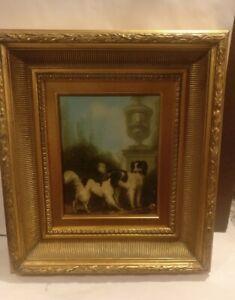 Original Signed Vintage Shipley Dog Oil Painting in Frame